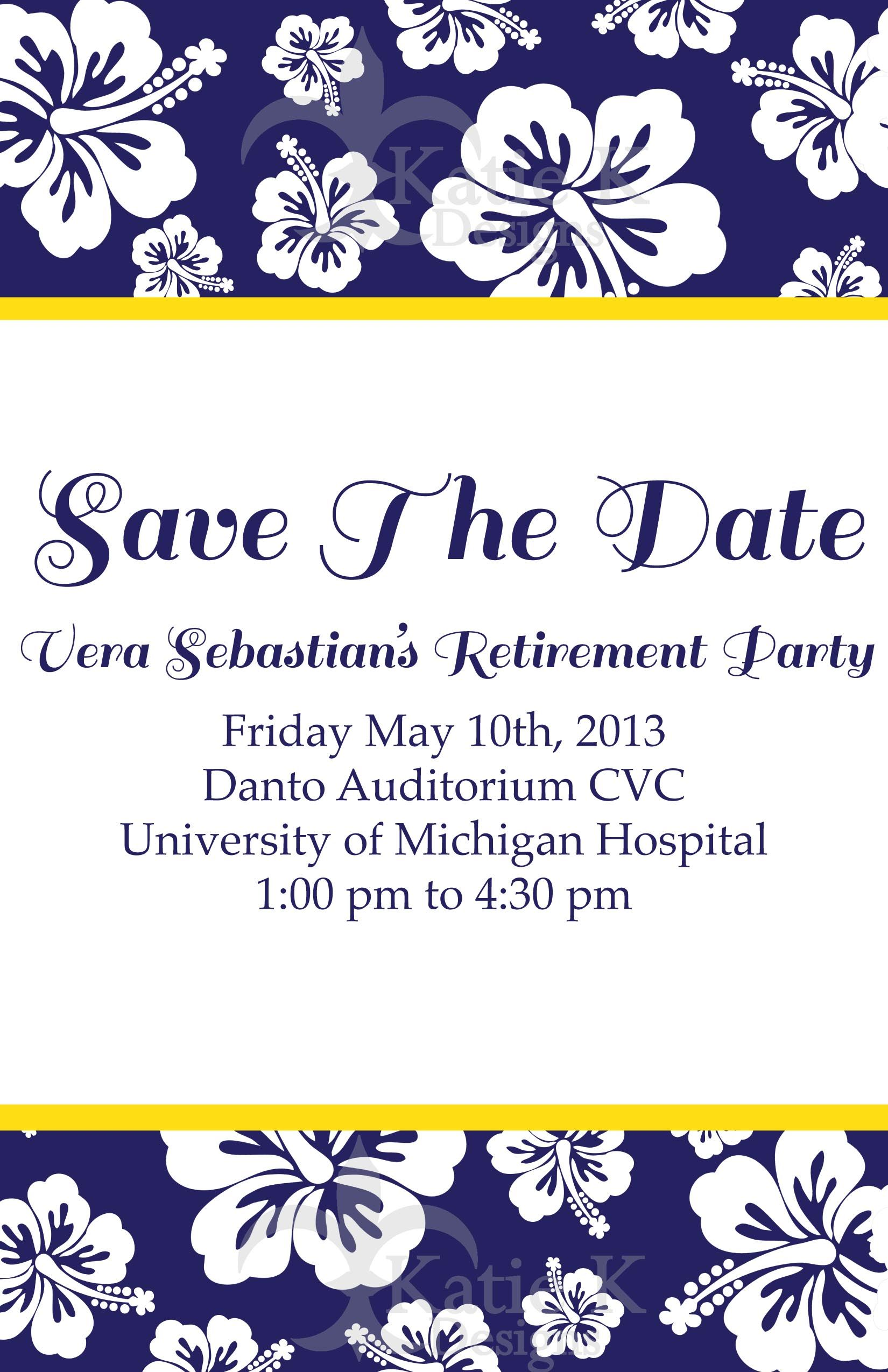 save the date invitations for a retirement party at the university
