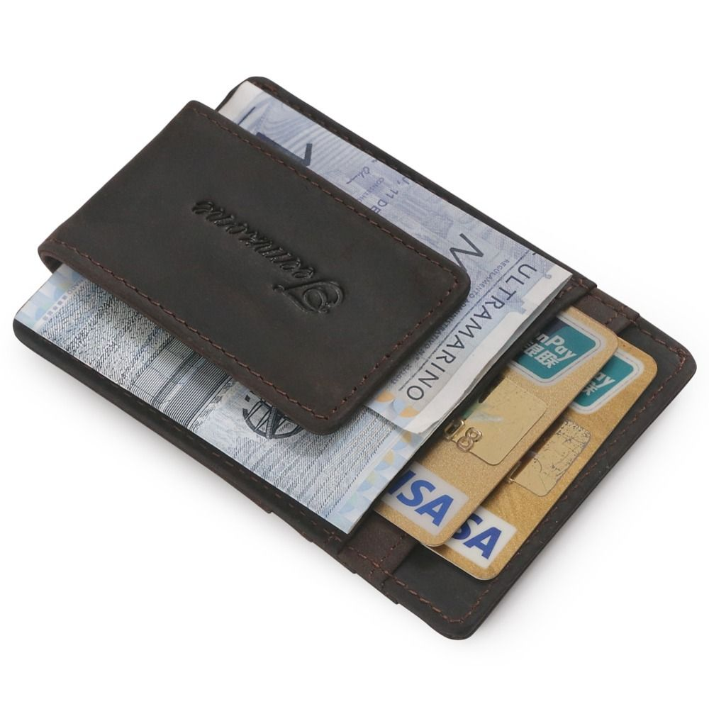 Men Genuine Leather Money Clip Wallet Magnetic ID Credit Card Photo Holder Purse