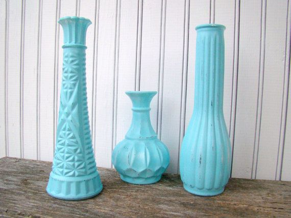 Aqua Painted Vases for Weddings Receptions Showers by TwiningVines