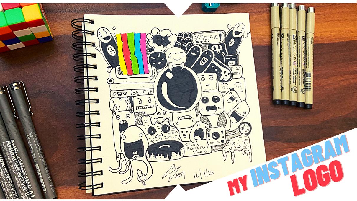 How To Draw Instagram Doodle Logo Instagram Logo Doodles Zentangle