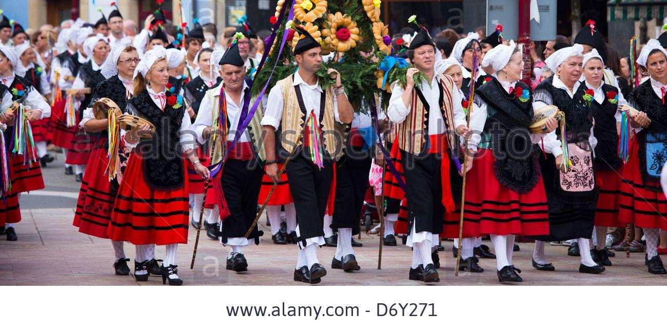 Traditional fiesta at Villaviciosa in Asturias, Northern Spain Stock Photo