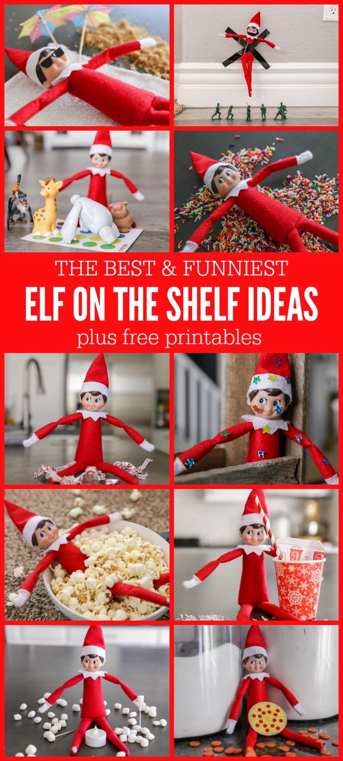 FUNNY Elf on the Shelf Ideas + FREE Printables | Lil' Luna