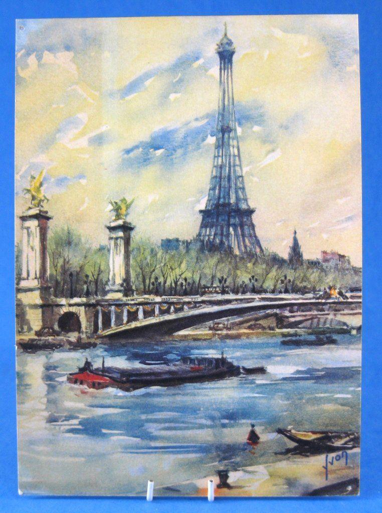 Postcard Artist Signed Watercolor Eiffel Tower Paris Yvon 1950s