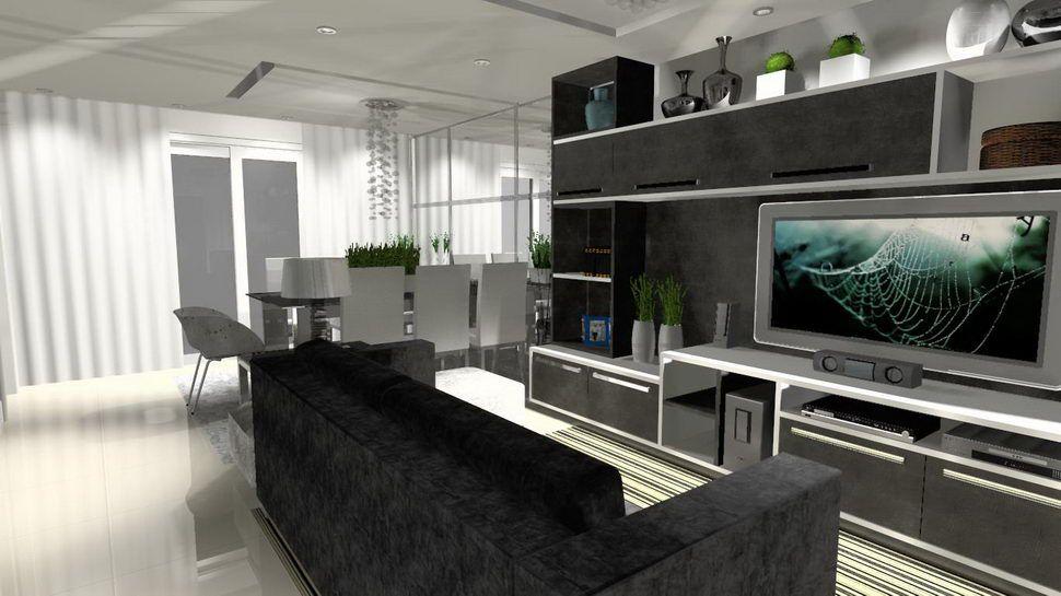 A sala ampla desta casa permitiu desenvolver um projeto para receber os amigos do cliente confortavelmente. Foi criado um home para uma TV grande e mesa para 7 pessoas, Além de uma boa iluminação para deixar o ambiente mais aconchegante.