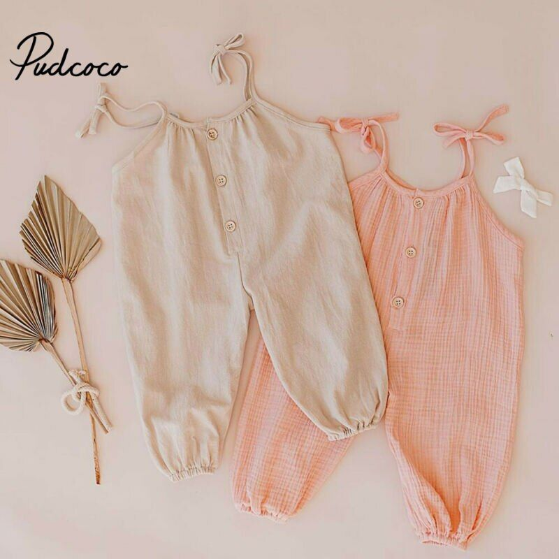 Pudcoco Cute Kids Newborn Baby Boy Girl Cotton Linen Romper Solid Sleeveless Striped Jumpsuit Outf Fashion Baby Girl Outfits Casual Summer Outfits Linen Romper