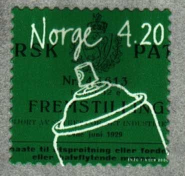 so apparently.....a Norwegian invented the spray can. This is a real stamp (1998) bless.