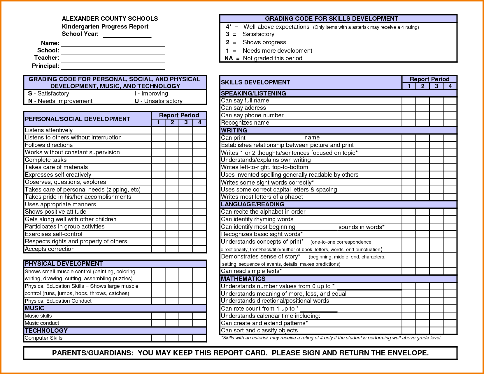 Kindergarten Report Card Template  Word Power