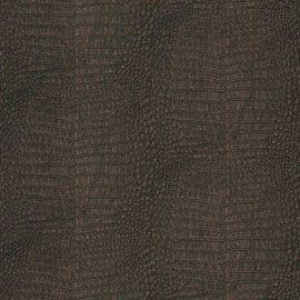 Papier peint vinyle intissé effet peau de crocodile marron ...