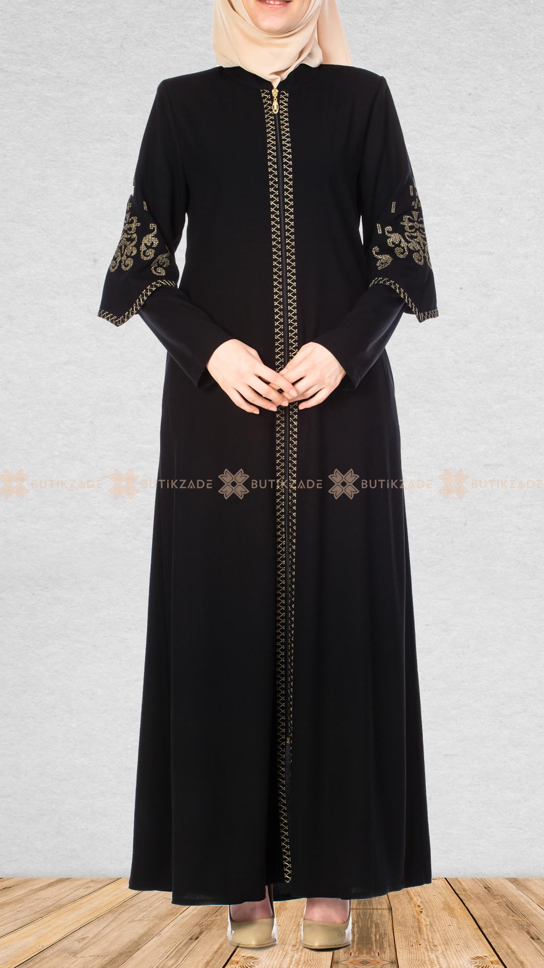 Kanavice Nakisli Siyah Ferace Islami Giyim Islami Moda Elbise