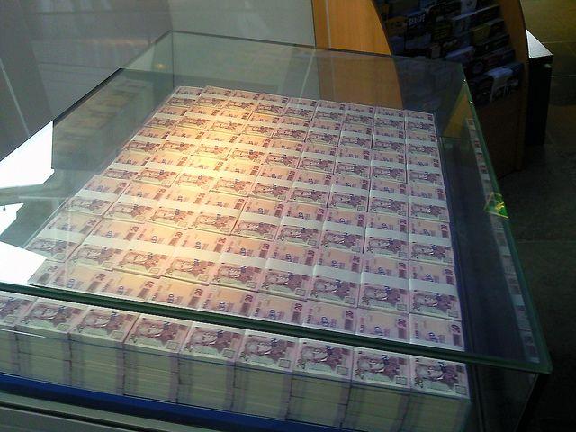 One million pounds at the Museum on the Mound Edinburgh, Scotland