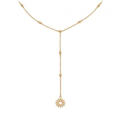 Biography Sun Lariat Necklace is part of Lariat necklace, Jewelry design, Lariat, Necklace, Minimalist earrings, Jewelry making - Offering an alternative silhouette, this 18 carat goldplated sterling silver Biography Lariat Necklace showcases an intricate sun charm set with sapphires that symbolises revival  The necklace's chain is decorated with beading, while the lowhanging charm creates a sense of effortless cool  Features a sapphireset sun charm that symbolises revival Crafted from 18 carat goldplated sterling silver Beaded lariat chain with lowhanging charm