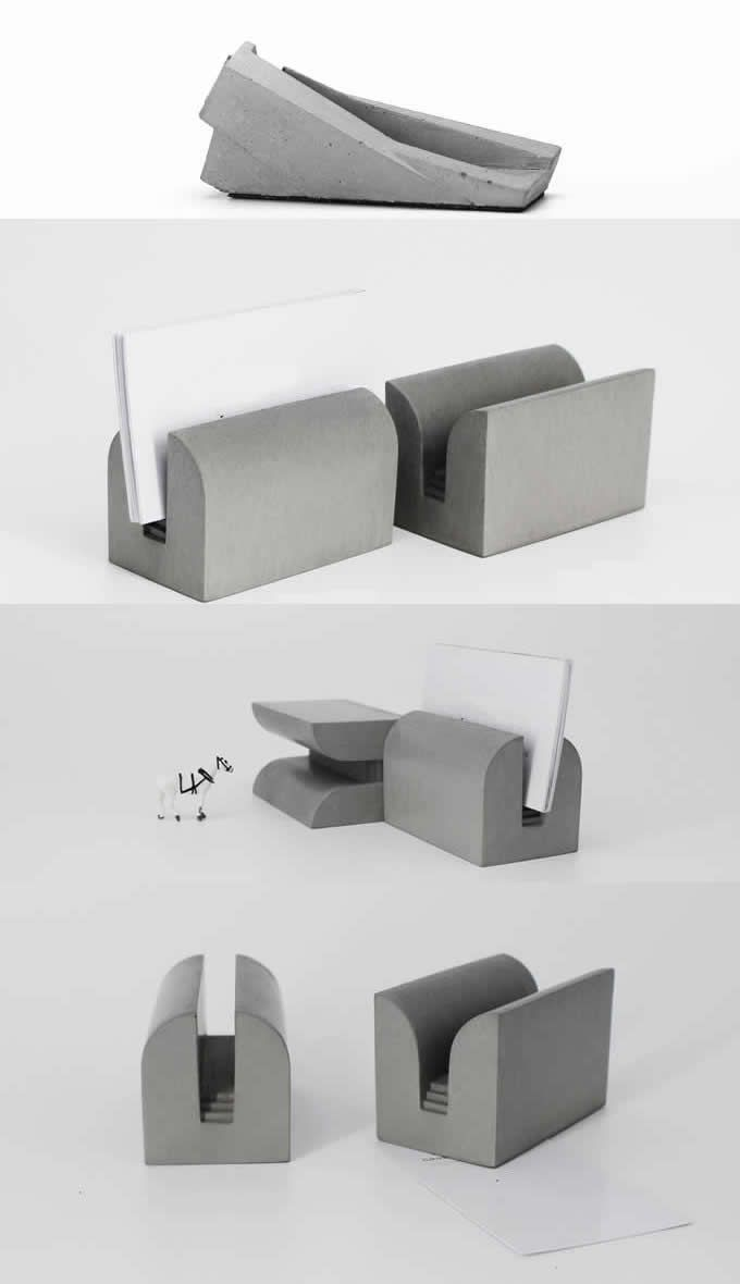 Concrete Business Card Holder Arts Concrete Desk Business Card ...