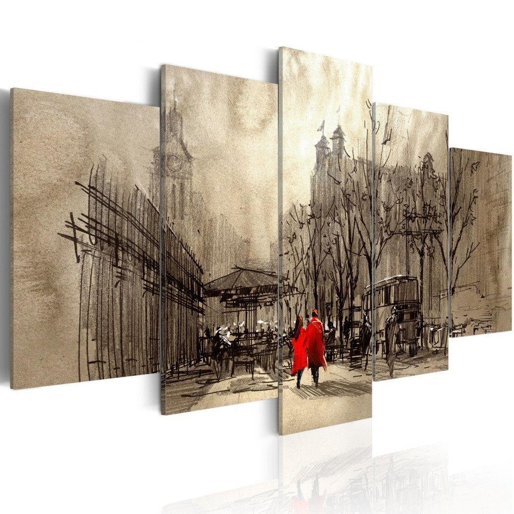 Leinwandbild bild auf leinwand wandbild romantic stroll motive des bildes stadt vintage - Leinwand motive ...