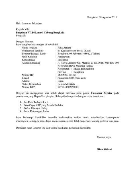 Contoh Surat Lamaran Kerja Di Grapari Telkomsel Contoh Surat