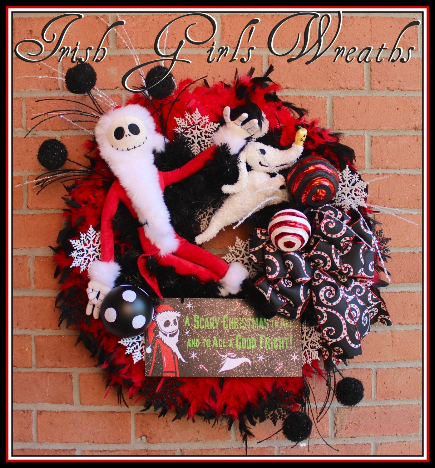 Sandy Claws Nightmare Before Christmas Wreath, Jack Skellington and ...