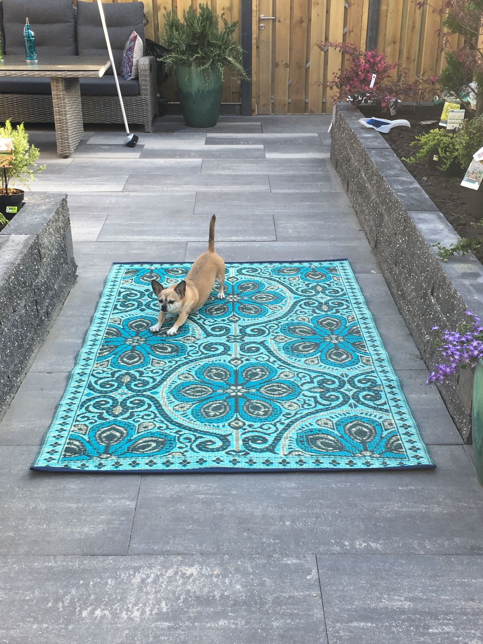 Buitenkleed Plastic Bohemian Outdoor Rug In Blue And Turquoise Colors For Making The