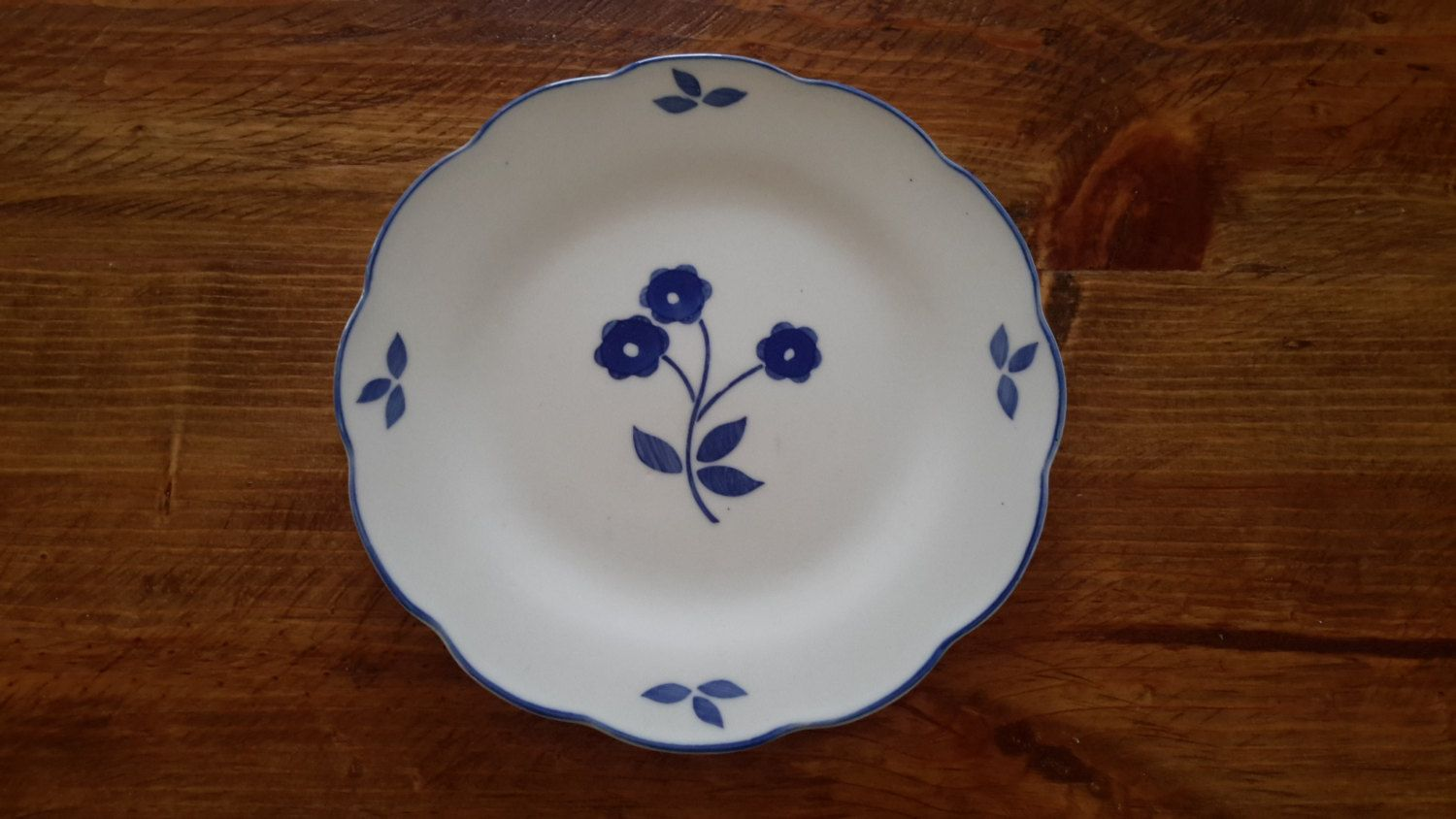 Pair of Bread and Butter or Dessert Plates White with Blue Flower in Folkcraft LDC China by CottageWelcome on Etsy