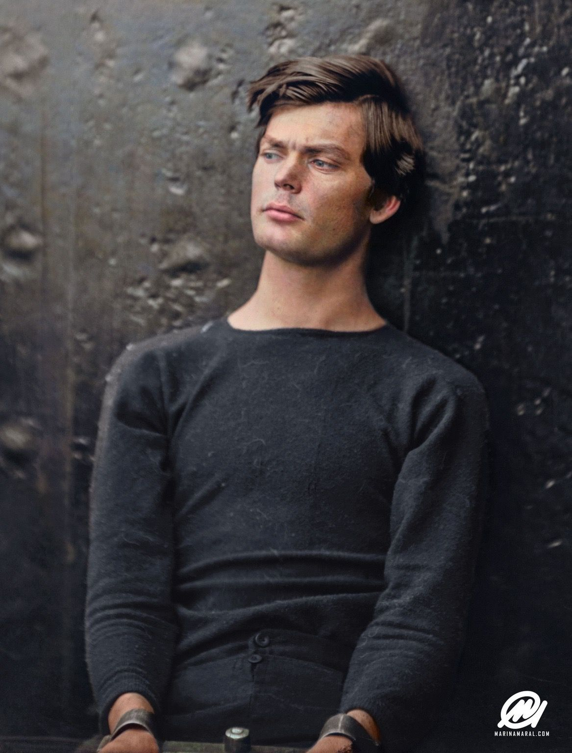 Abraham Lincoln Assassination Conspirator Lewis Powell in Custody, April 1865. (Colorised by /u/marinamaral)