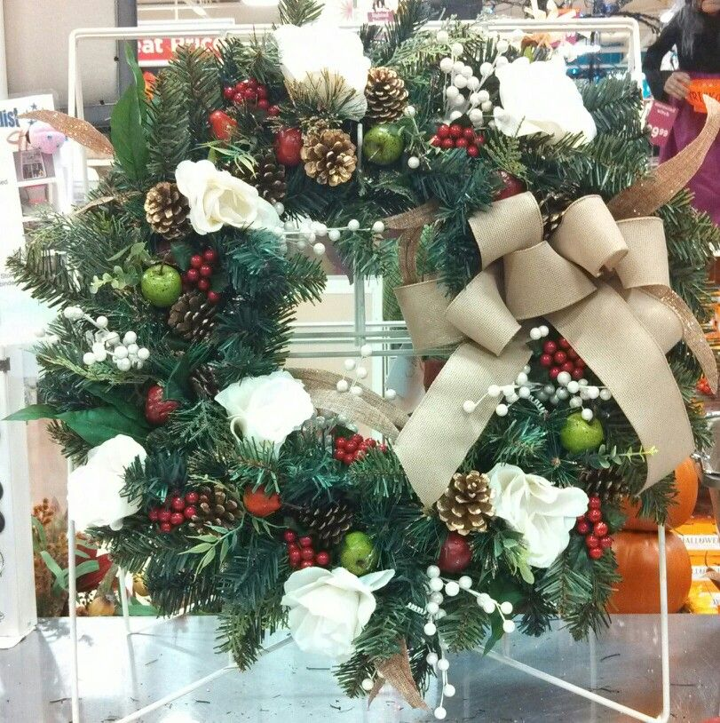 christmas berry fruit pinecone and roses wreath michaels craft massapequa ny - Michaels Christmas Crafts