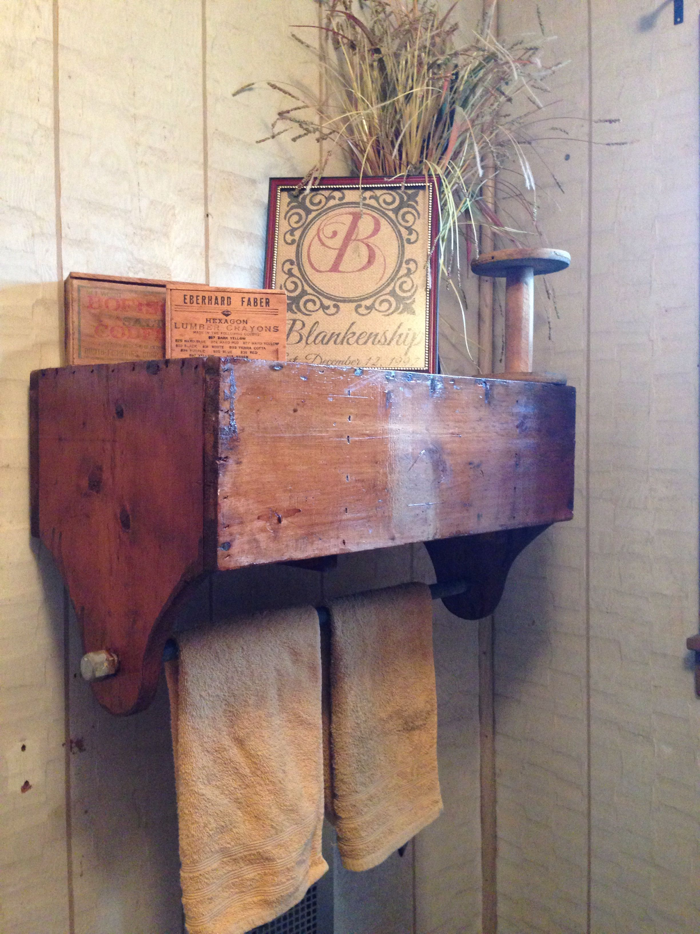Vintage Tool Box Turned Towel Rack And Shelf Wooden Tool