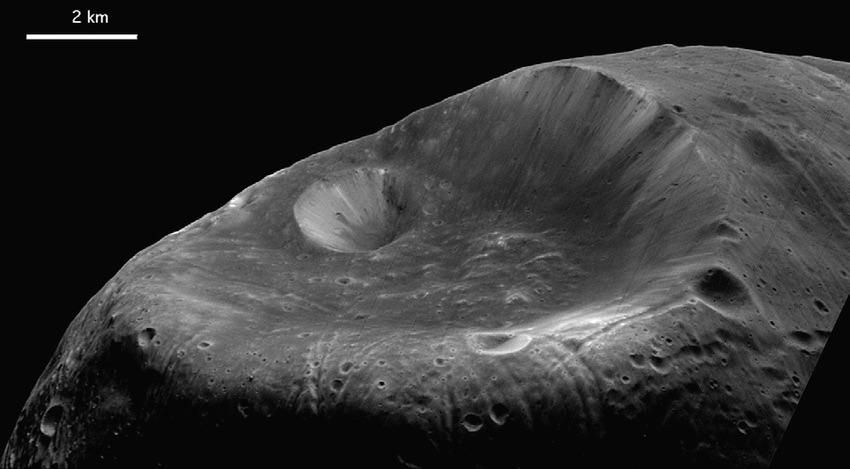 Stickney crater the largest crater on Phobos named after