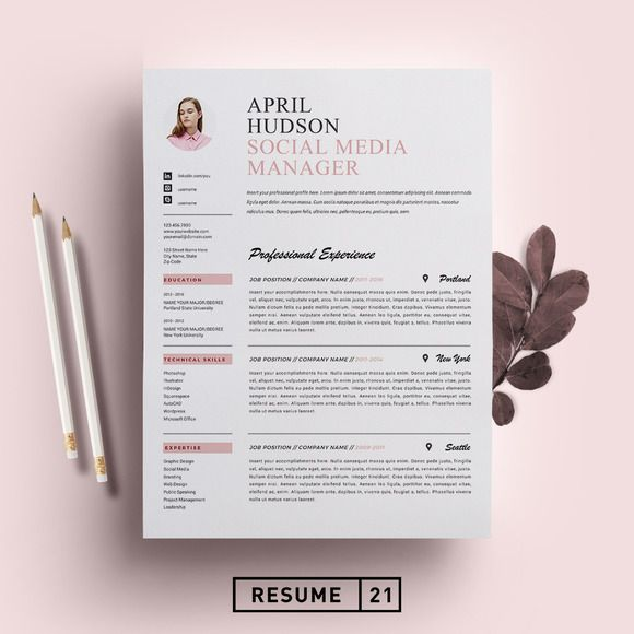 Social Media Resume Template / CV By Resume21 On