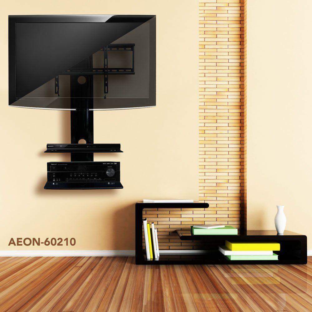 Amazon Com Swiveling Tv Wall Mount With Two Shelves Shelf