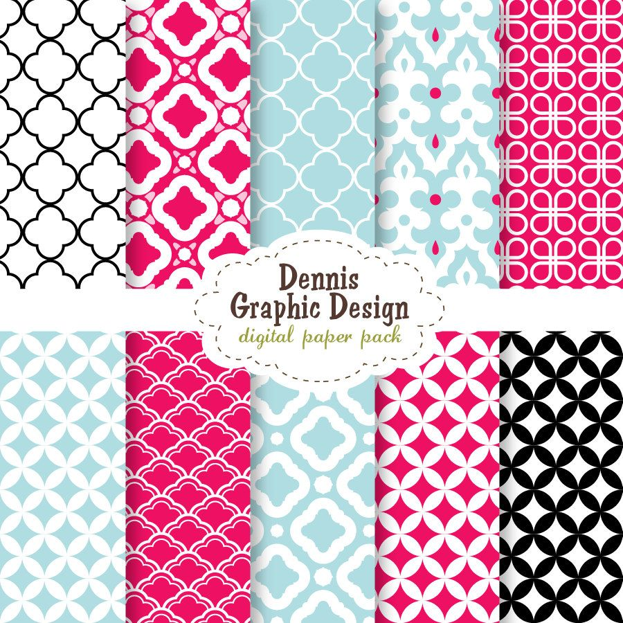 Scrapbook paper collections - Buy 2 Get 2 Free Digital Scrapbook Paper Red Blue Black Cute Patterns Collection