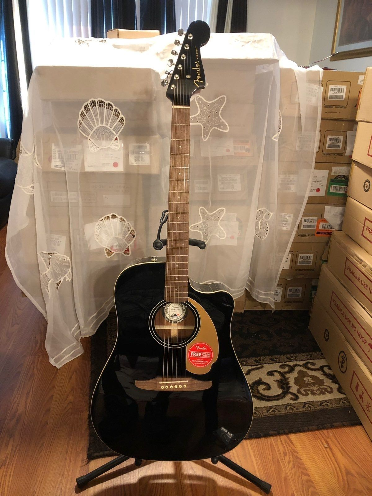 Fender Redondo Player Electric Acoustic Guitar Jetty Black Guitar With Walnut Fretboard It Feature Optimize Bracing For Reduced Mas Guitar Fender Cool Guitar