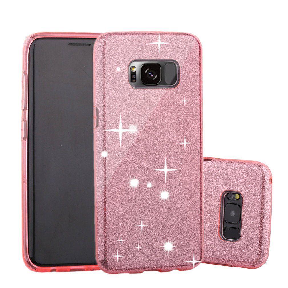 Gavoyeat Thin 3 Layer Hybrid Tpu Bling Glitter Case For Samsung Galaxy S8 Rose Gold Glitter Case Bling Design Case