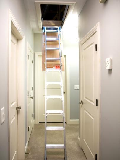 How To Install A Folding Attic Ladder Attic Flooring Attic Renovation Attic Bedrooms