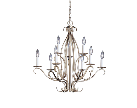 Portsmouth Collection 9 light Chandelier in Brushed Nickel - Kichler Lighting - pendant, ceiling, landscape light fixtures & more