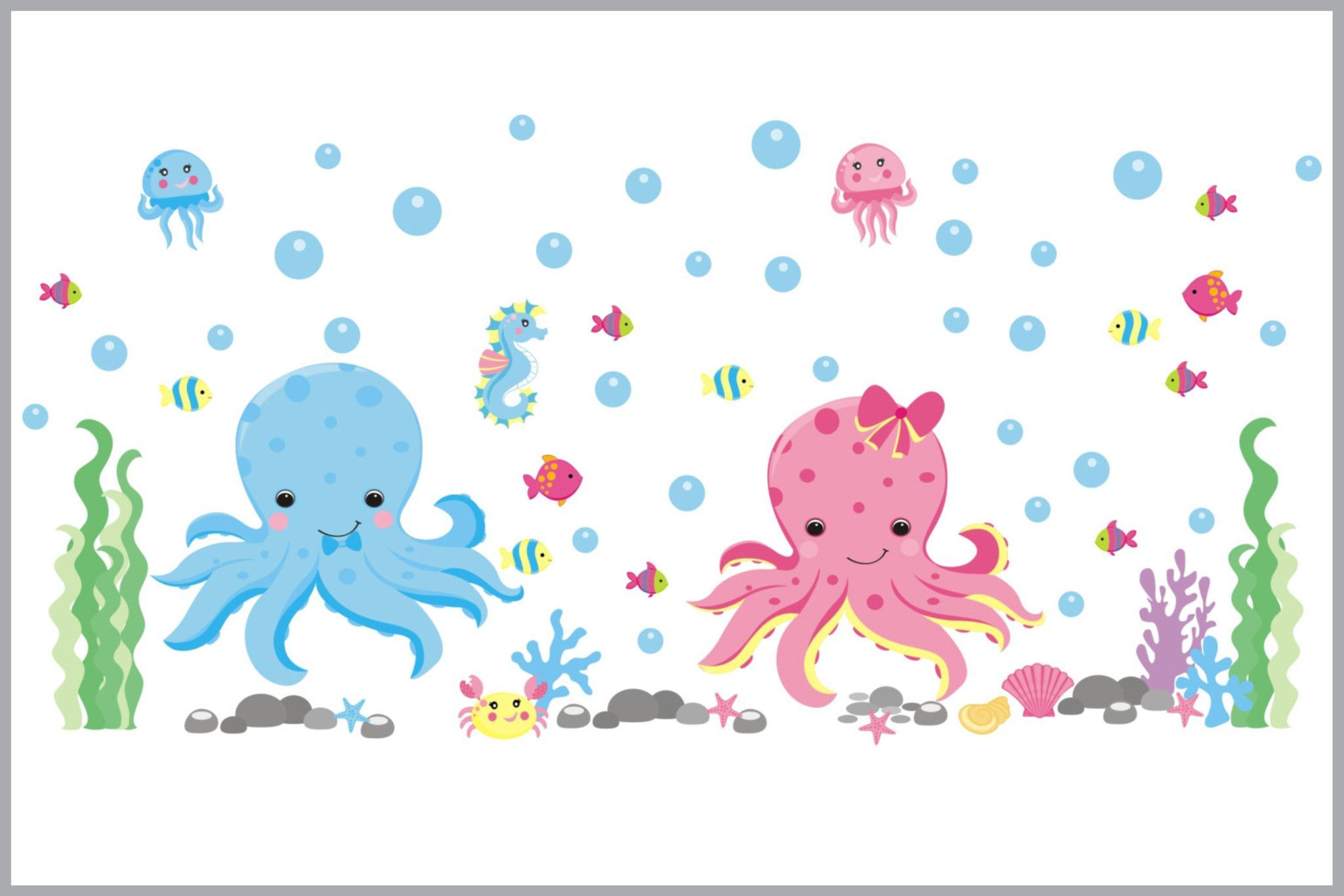Under the Sea Nursery Decals - Octopus Wall Stickers - Sea ...