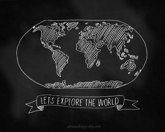 lets explore the world map chalkboard alexa z design