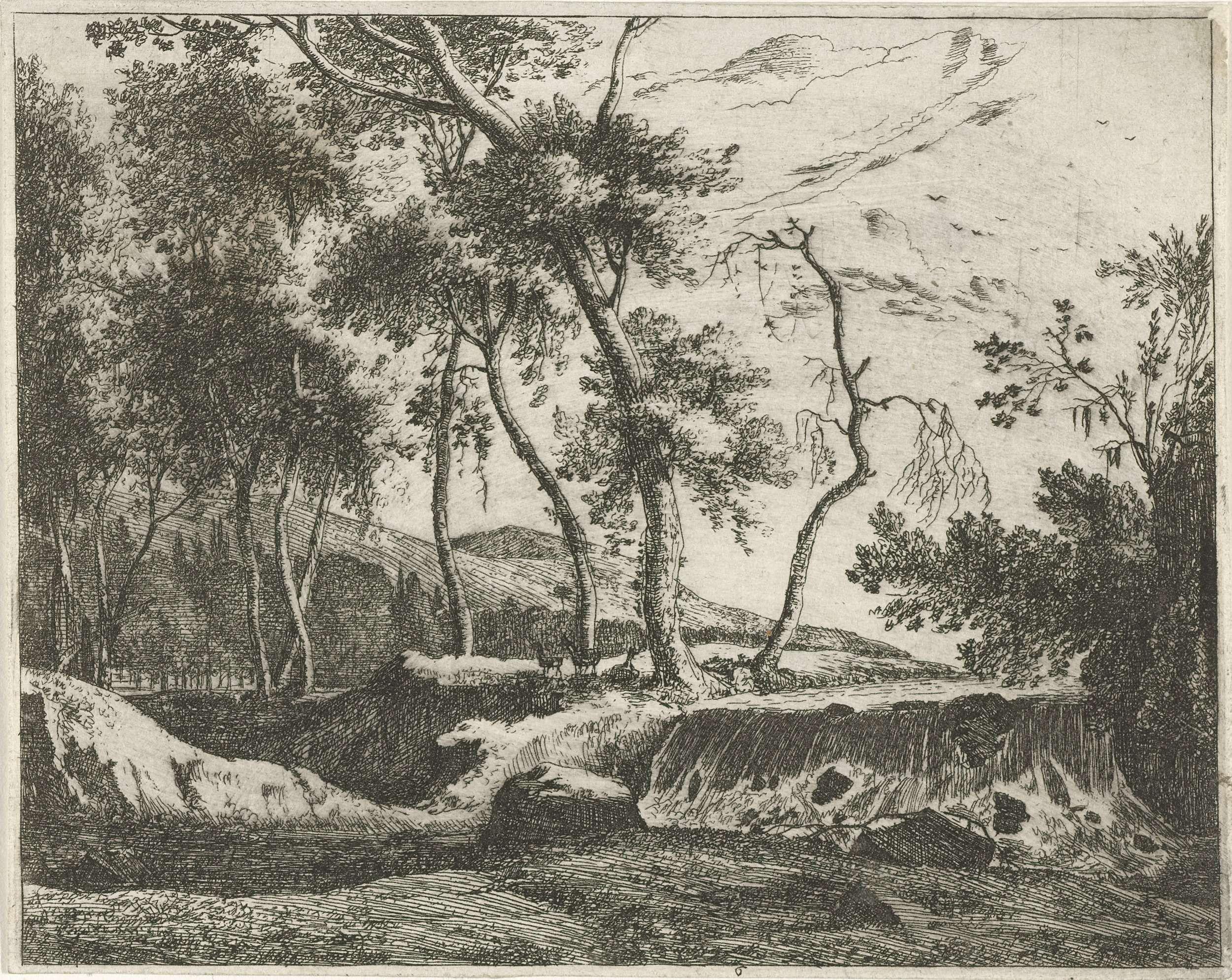 Roelant Roghman | Waterval, Roelant Roghman, 1637 - 1692 | Gezicht op een waterval in Tirol. Naast de waterval drie herten en op de achtergrond heuvels. Prent uit een serie van acht prenten met Tiroolse landschappen.