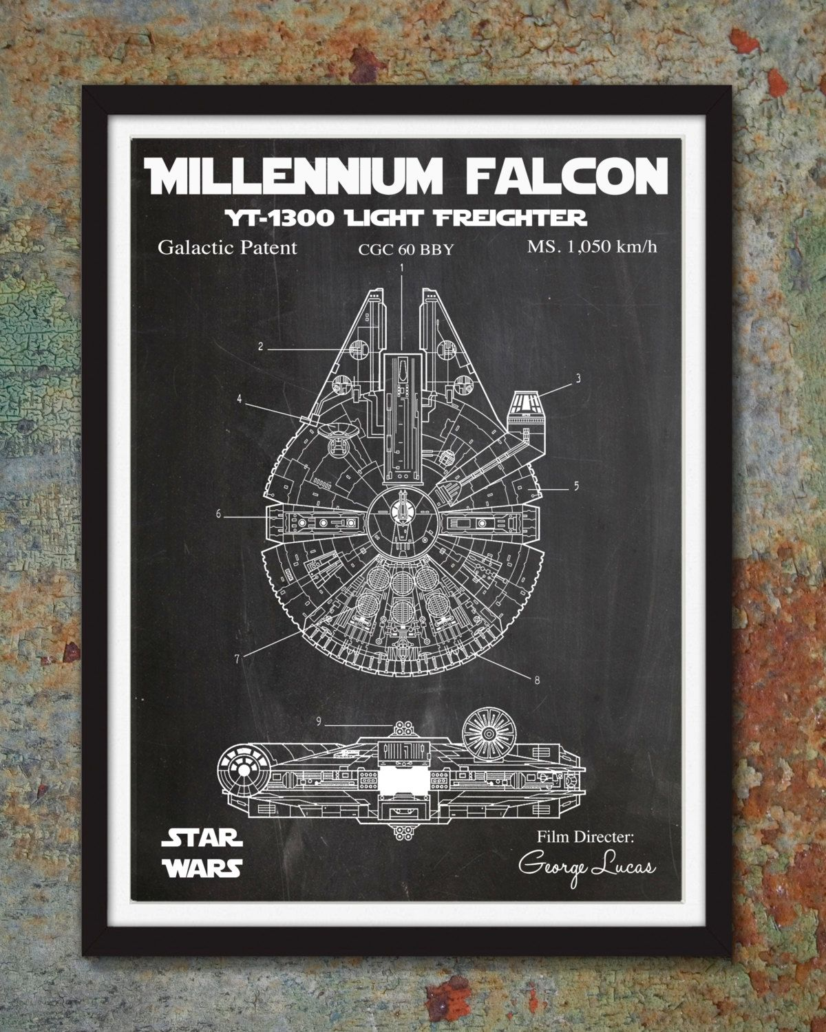 Star wars millennium falcon patent wall print skywalker art poster arttherapyfortheslightlyinsane malvernweather