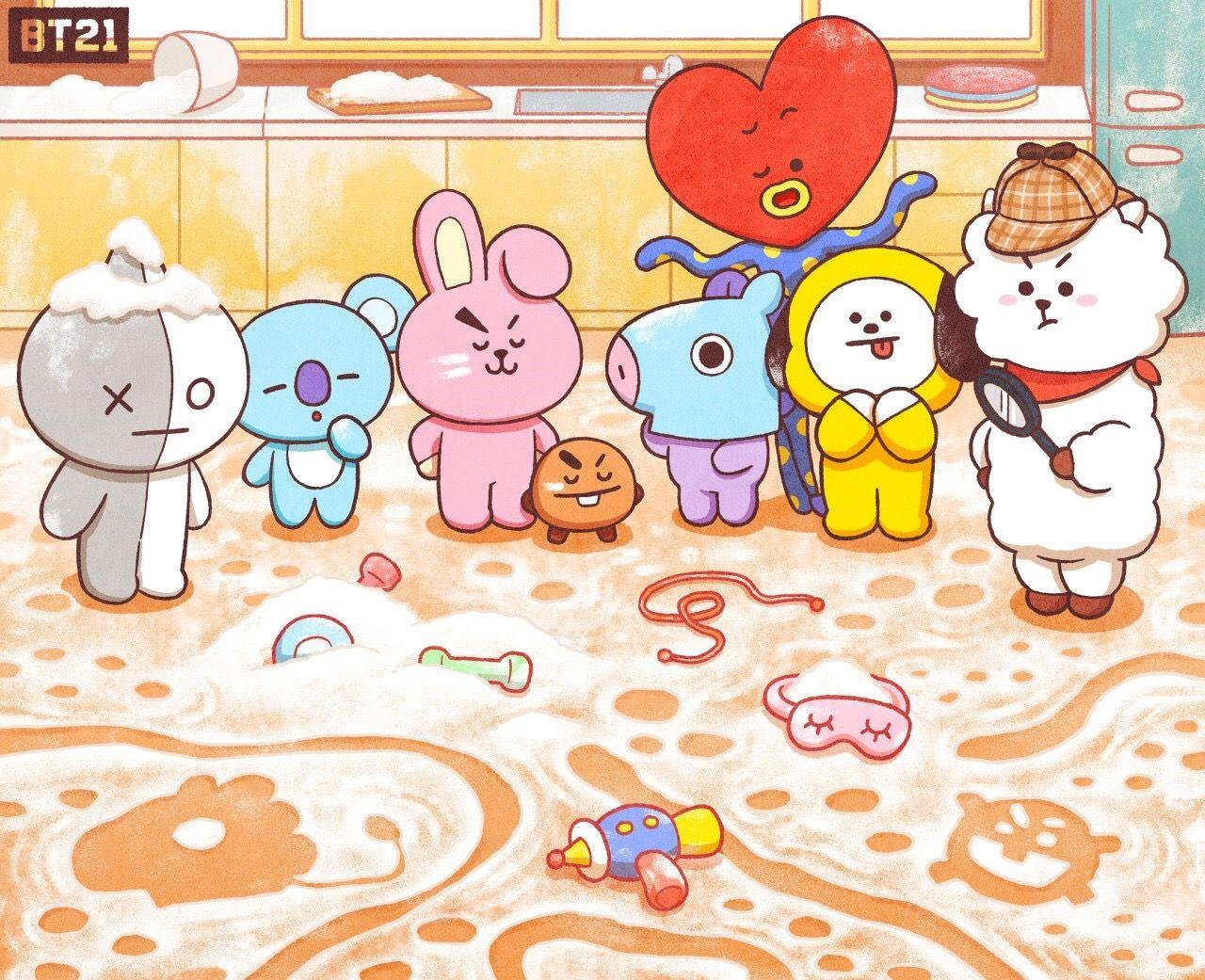 Van Mang /& Shooky T-shirt BT21 Anime Characters RJ Chimmy Koya Cooky Tata