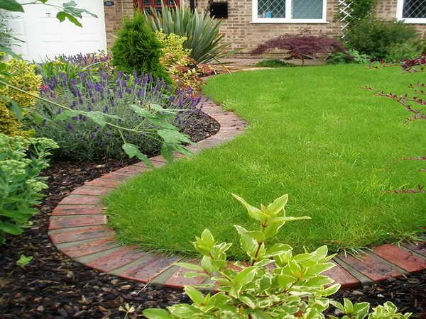 Landscaping Edging Stones With Lavender Flower Plants Brick