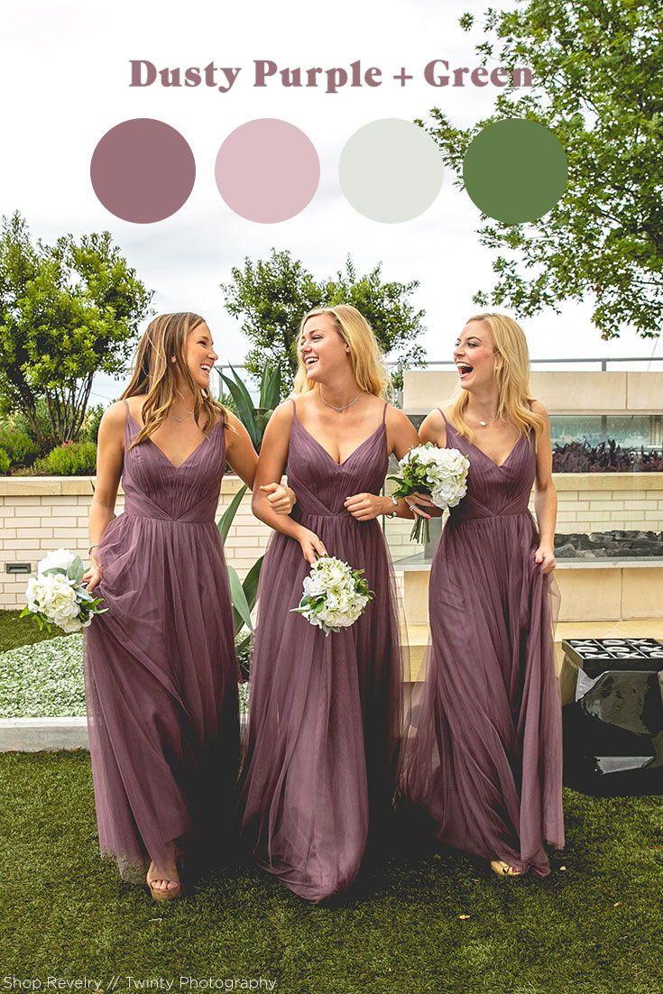 Popular Fall Wedding Color Palette Dusty Purple Green Purple Bridesmaid Dresses Tulle Bridesmaid Dress Wedding Bridesmaid Dresses [ 1102 x 735 Pixel ]