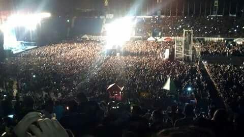 """Estadio Nacional """"Jorge Mágico González"""" El Salvador, concierto Iron Maiden. 6 de marzo 2016. Tribuna alta"""