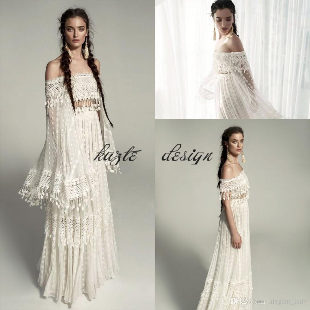Meital zano vintage crochet lace tassel boho hippie wedding dresses