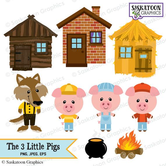 the three little pigs clipart instant download file digital rh pinterest com three little pigs clipart black and white 3 little pigs clipart black and white