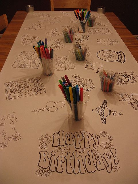 Coloring Table Cloth | Birthday table decorations, Happy ...