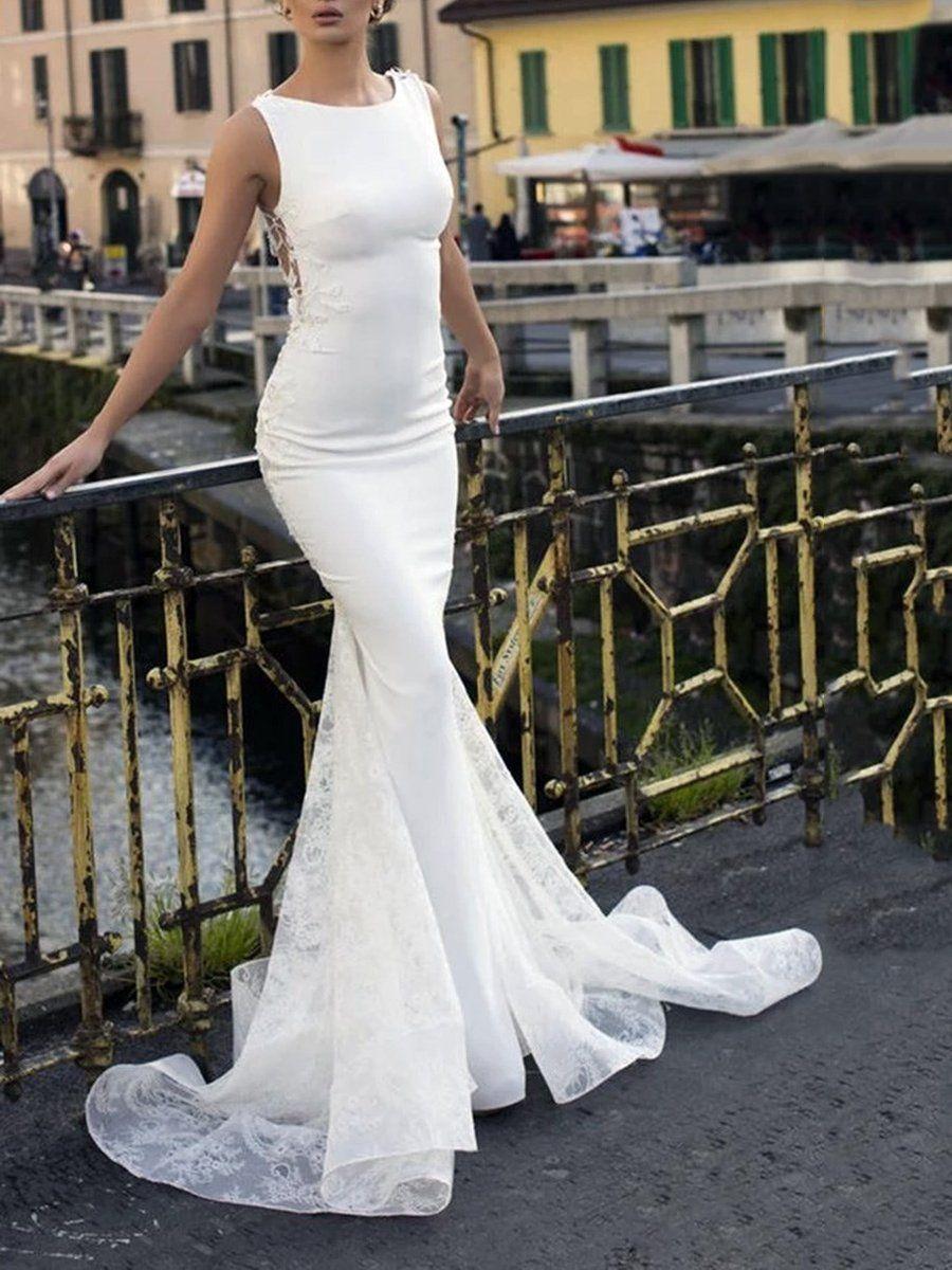 Ivory spandex lace mermaid pickups floorlength sweep
