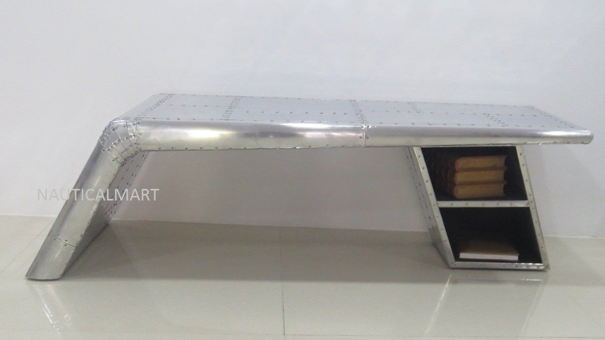 Vintage aviator en aluminium élégant ailes table basse bureau avec