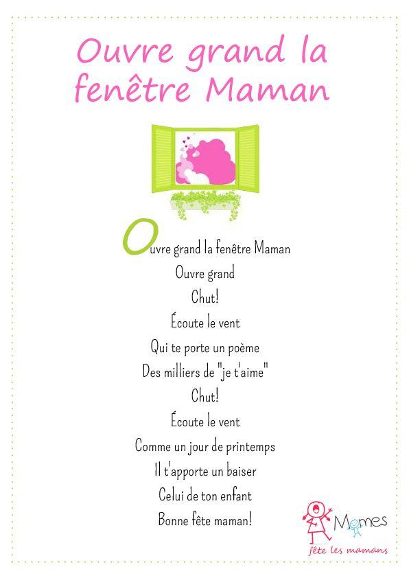 Ouvre Grand La Fenêtre Maman Poème Fête Des Mères Bon