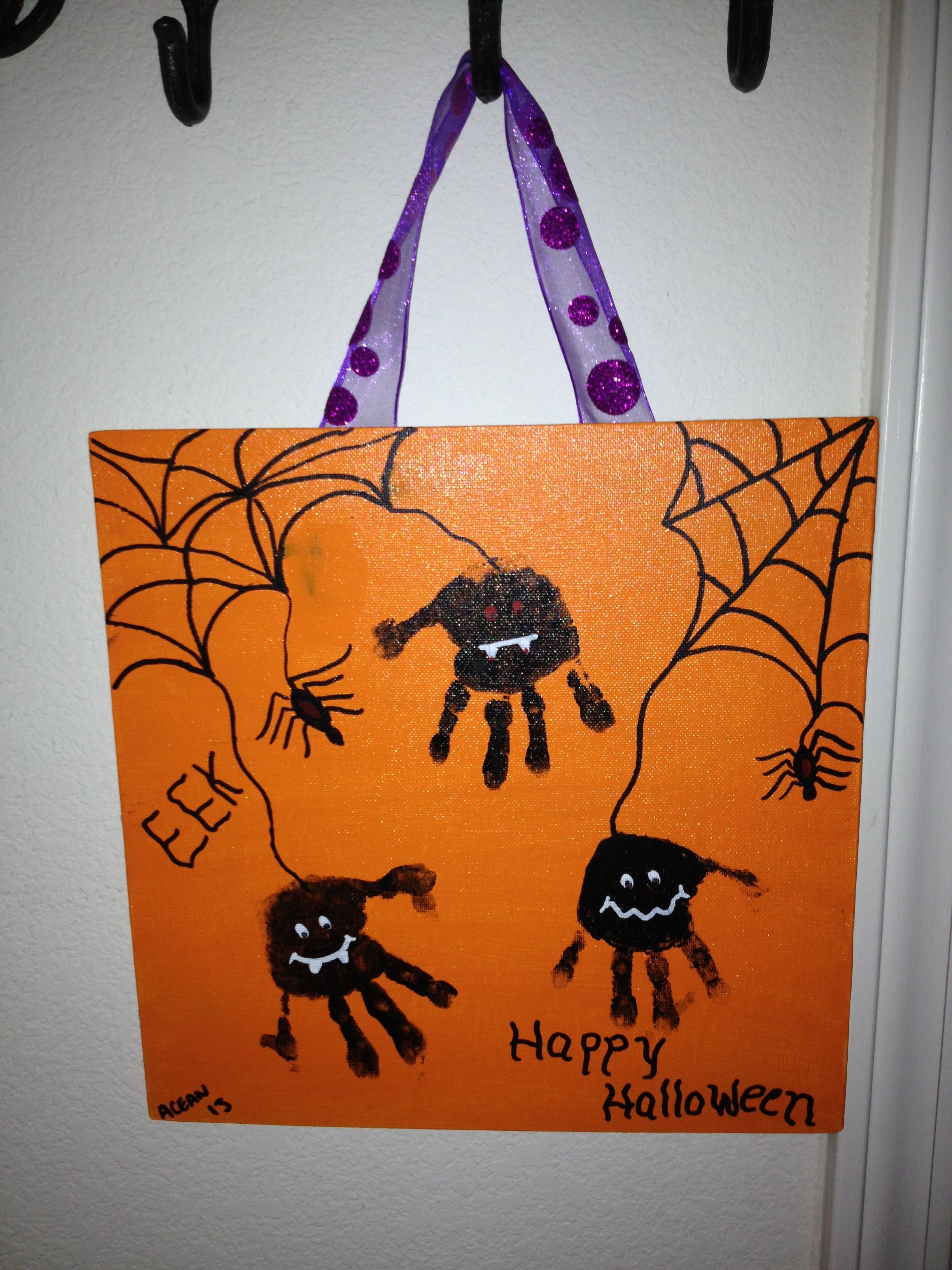 Spider hand prints for Halloween cute keep sake decoration Happy - cute halloween decoration ideas