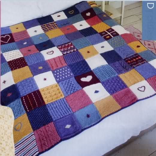 Como hacer una manta de punto a dos agujas de cuadros - Como hacer mantas de patchwork ...