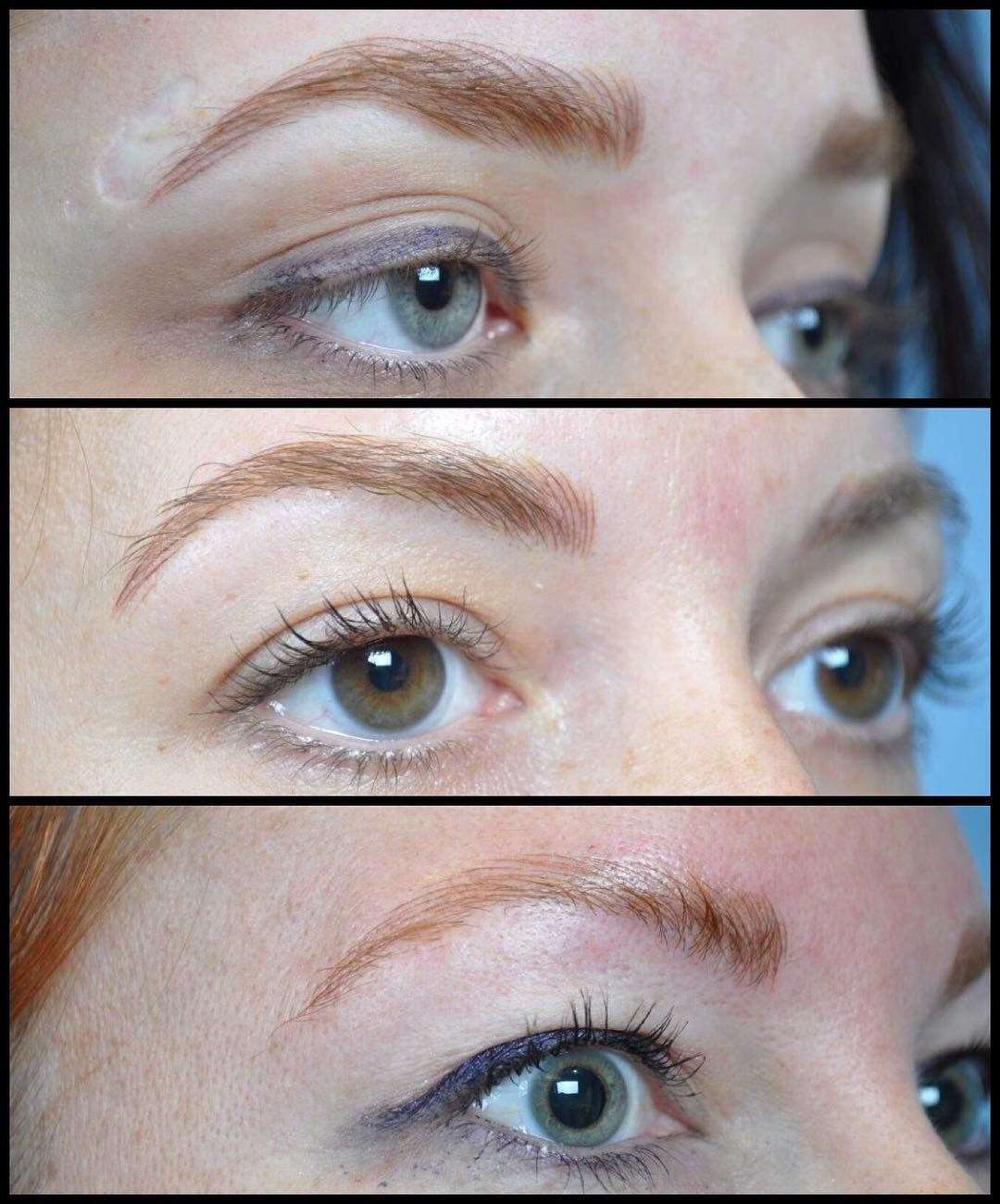 Hairy tattoo of eyebrows. Care after tattoo after skin