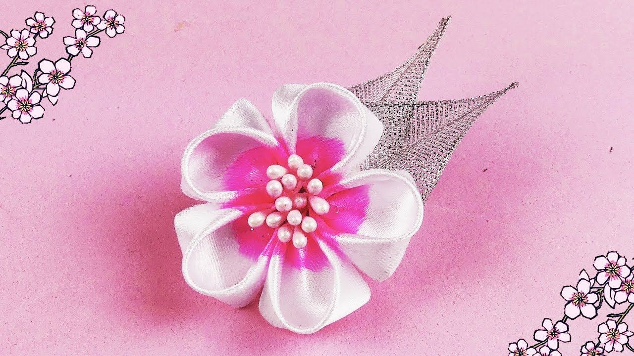 Diy ribbon cherry blossom flower i diy december ep11 i how to make hello everyone in this new video i am going to show you how to make this cute ribbon flower hair clip this beautiful cherry blossom kanzashi flower is izmirmasajfo